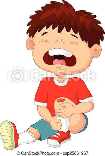 Clip Art Vector Of Cartoon Boy Cryingwith A Scratch On