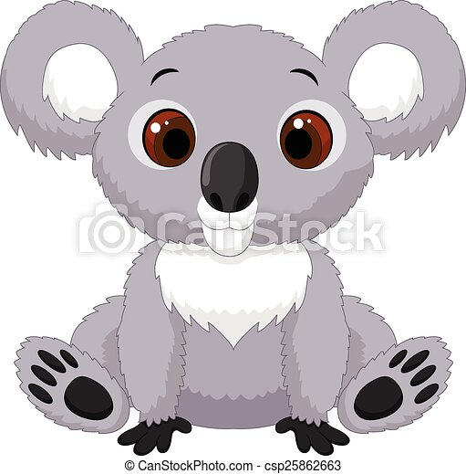 Clip Art Vecteur de mignon, dessin animé, koala, séance - vecteur ...