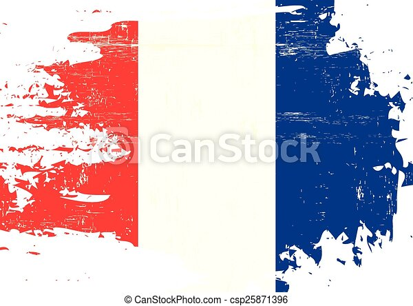 Scratched french Flag - csp25871396