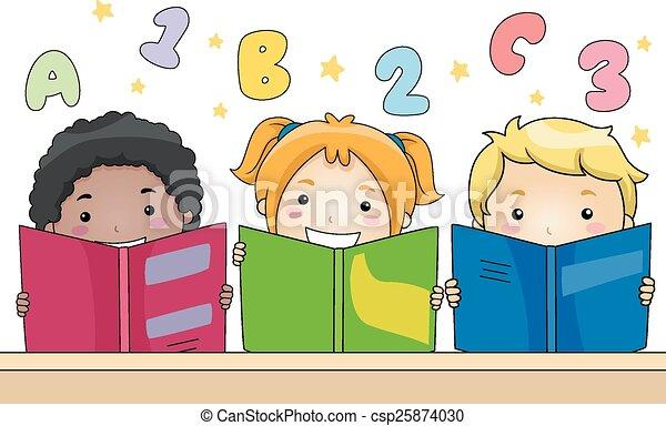 Vectors Of Kids Reading Books Illustration Of Kids