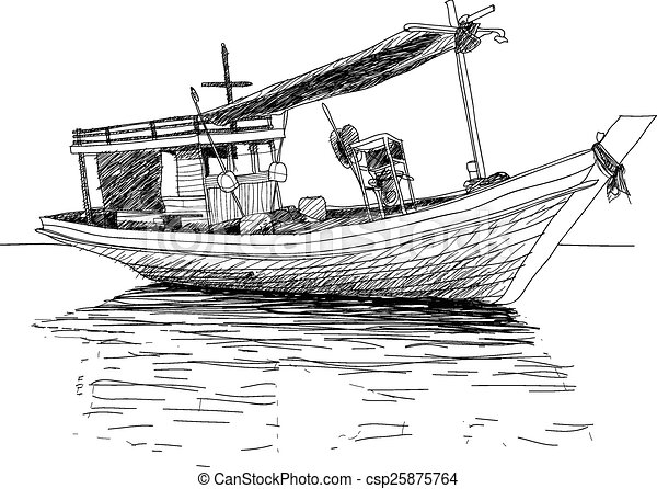 Clip art vector of thai fishing boat used as a vehicle for for How to draw a fishing boat