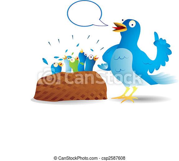 Twitter bird talking - csp2587608