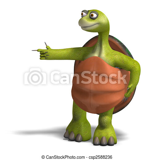 funny toon turtle enjoys life - csp2588236
