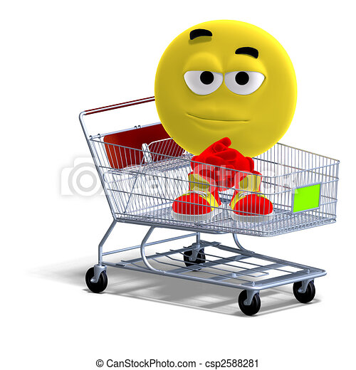 cool and funny emoticon sitting in a shopping cart - csp2588281