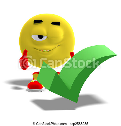 cool and funny emoticon says yes to a checkmark - csp2588285