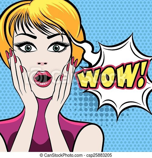 Vector Clipart of Surprised woman face with WOW bubble ...