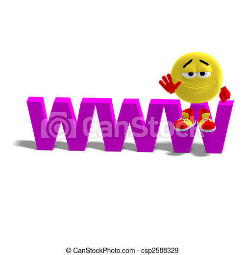 3D rendering of a cool and funny emoticon who is sitting on the the top of the www world wide web with  and shadow over white - csp2588329