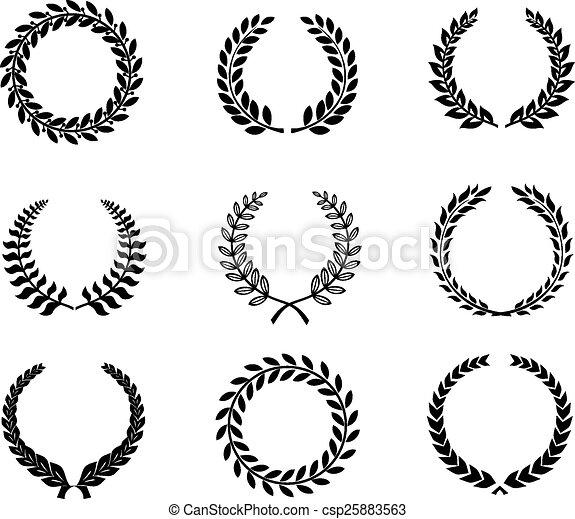 Clip Art Vector of Set silhouette circular laurel foliate and wheat ...