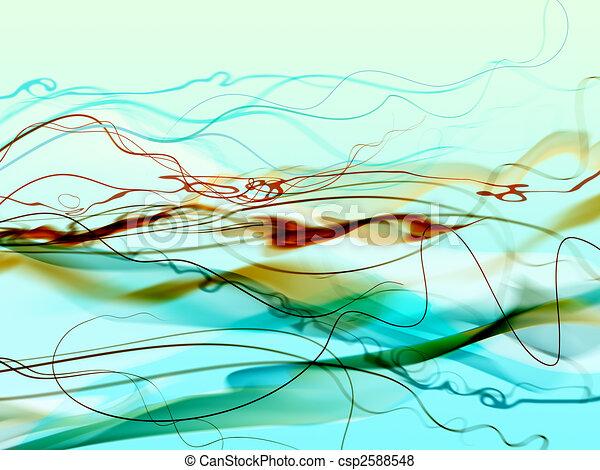 Green abstract smoke and filaments - csp2588548