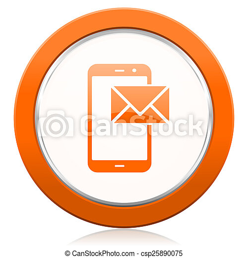 オレンジ, メール, ポスト, アイコン, 印 - csp25890075