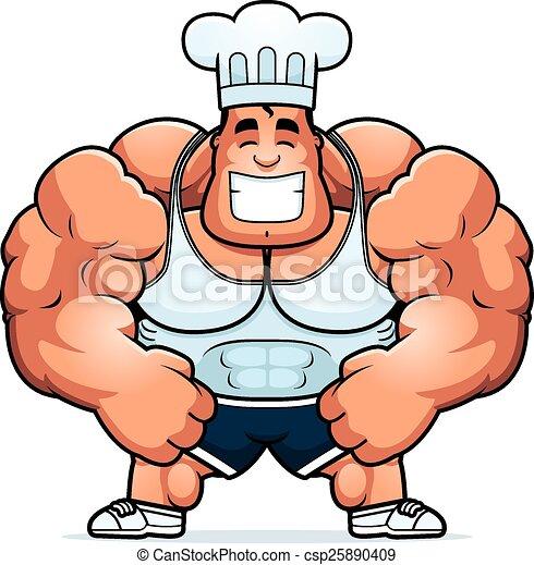Clipart vecteur de musculation chef cuistot dessin anim - Musculation dessin ...