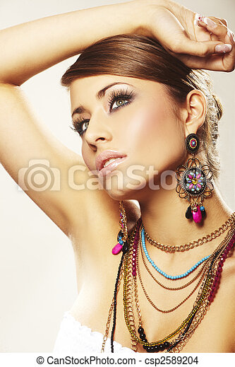 fashion woman with jewelry - csp2589204