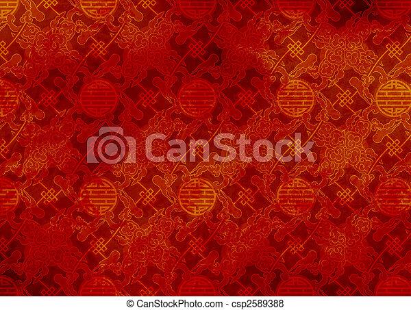 chinois, modèle, papier peint,  -, filigrane, lisser, fond,  Textured, ou, rouges - csp2589388