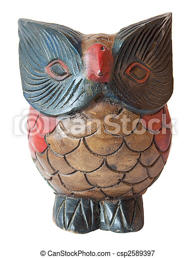 Owl ornament wooden sculpture painted - csp2589397