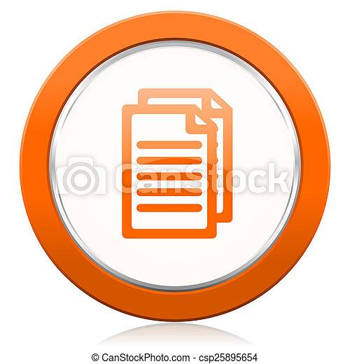 オレンジ, 文書, ページ, アイコン, 印 - csp25895654