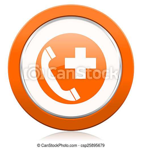 オレンジ, 呼出し, 緊急事態, アイコン - csp25895679