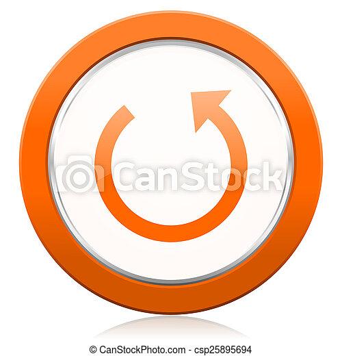 オレンジ,  reload, 回しなさい, アイコン, 印 - csp25895694