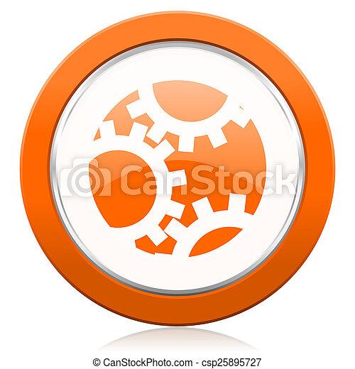 オレンジ, 印, ギヤ, アイコン, 設定 - csp25895727