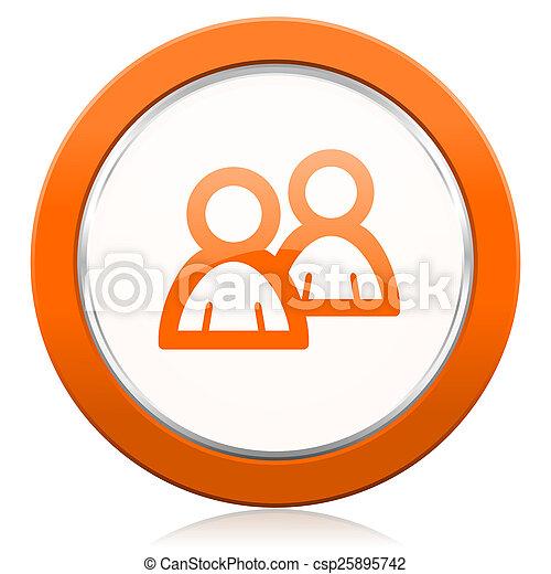 オレンジ, アイコン, 印, フォーラム, 人々 - csp25895742