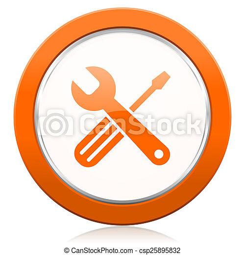 オレンジ, アイコン, 道具, サービス, 印 - csp25895832
