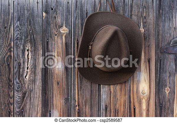 felt cowboy hat on barn wall  - csp2589587