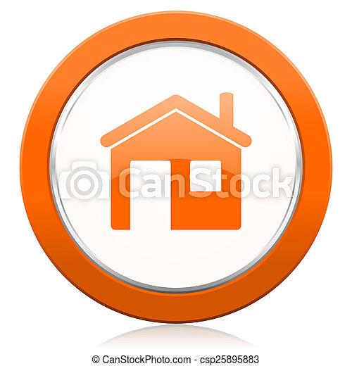 橙, 房子圖標, 家, 簽署 - csp25895883
