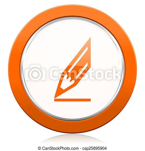 オレンジ, 鉛筆, ドロー, アイコン, 印 - csp25895904