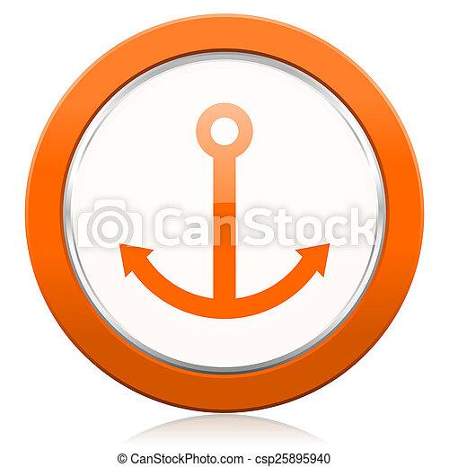 オレンジ, 帆, 錨, アイコン, 印 - csp25895940