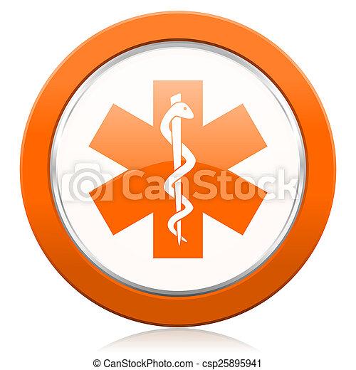 オレンジ, 病院, アイコン, 緊急事態, 印 - csp25895941