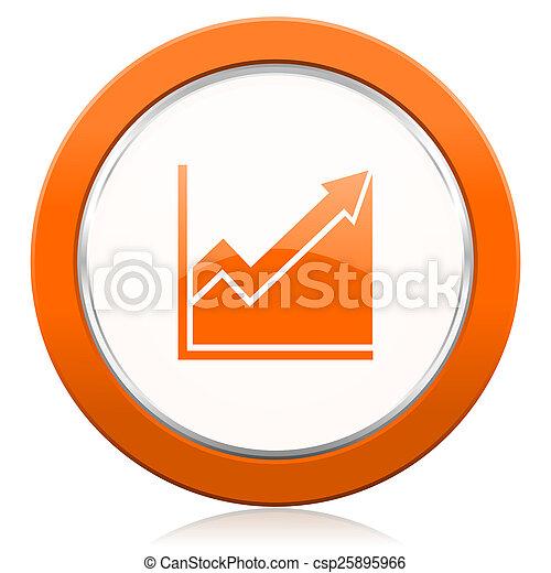 オレンジ, ヒストグラム, 印, 株, アイコン - csp25895966