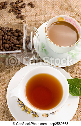 coffee and tea on linen background - csp2589668
