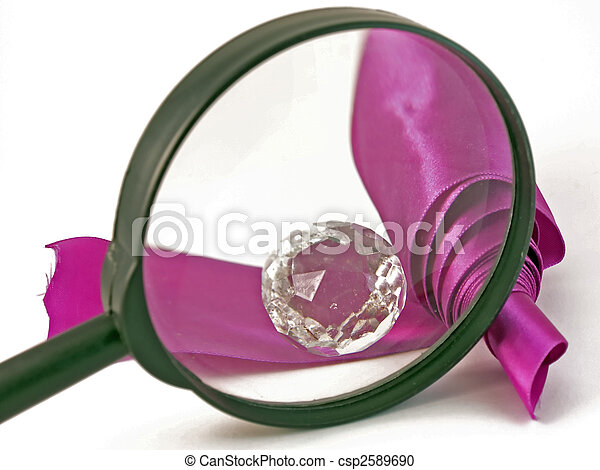 Magnifying and adornment with violet ribbon - csp2589690