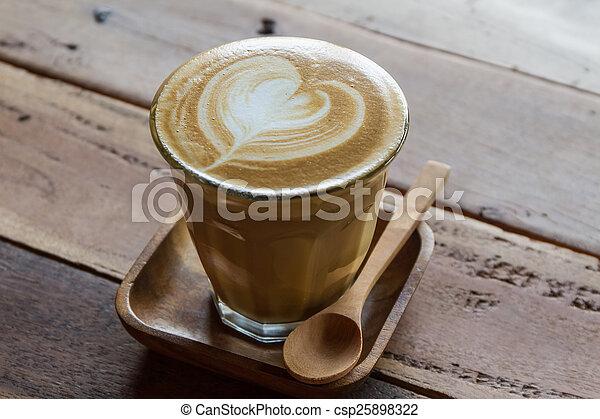 Cappuccino or latte coffee .