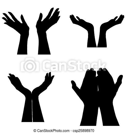 Vector Illustratie van portie, handen - Vier, anders ...