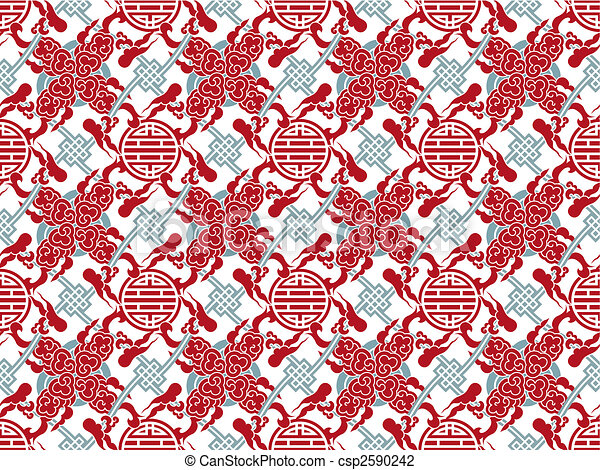 Vector chinese traditional meshed pattern - symbol and smoke or clouds - csp2590242