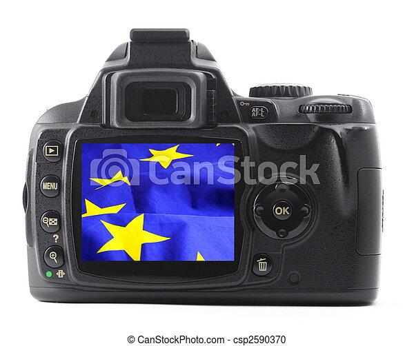 eu flag in digicam - csp2590370
