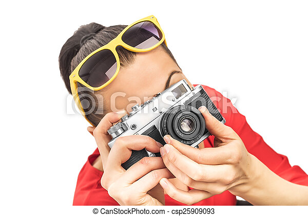 Girl with the camera.  - csp25909093