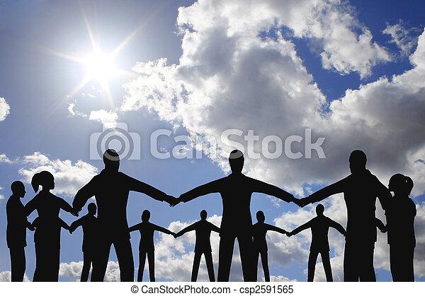 groupe, gens, ciel, ensoleillé, Cercle, nuage - csp2591565