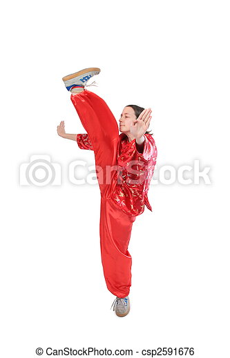 Kung fu girl high kick - csp2591676