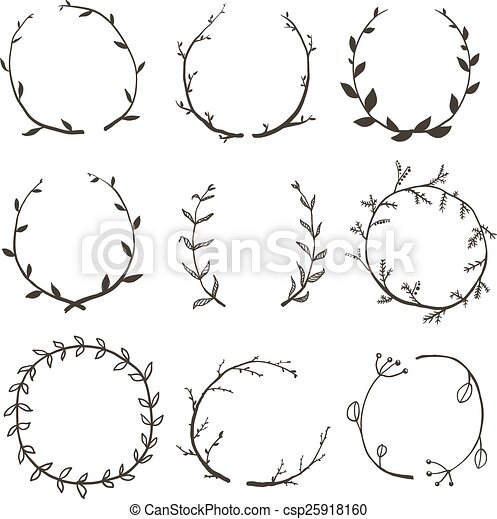 Clip Art Vector of Rustic Laurel and Wreath Collection for Design ...