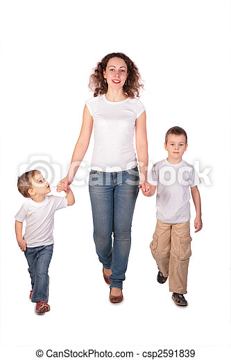 Mother with children steps - csp2591839