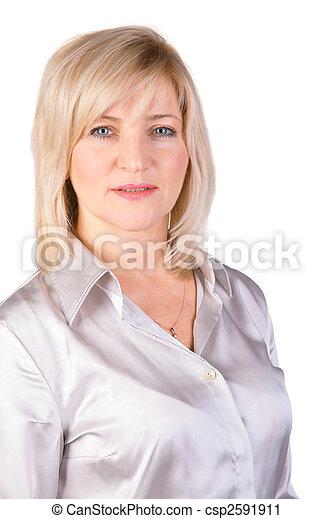 Stock Fotografie von middleaged, frau, in, Licht, bluse