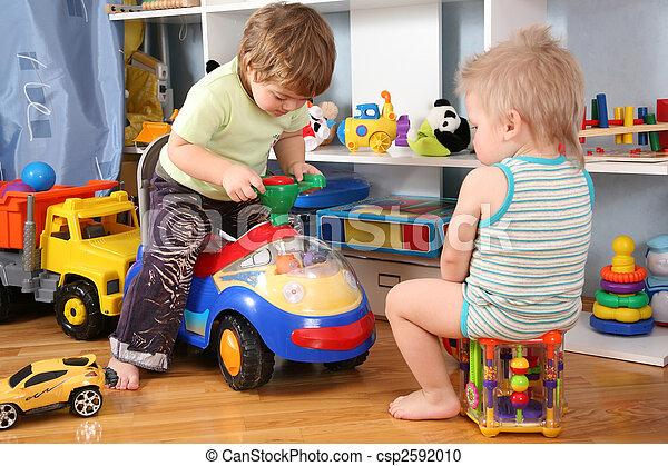brinquedo,  scooter,  playroom, dois, crianças - csp2592010