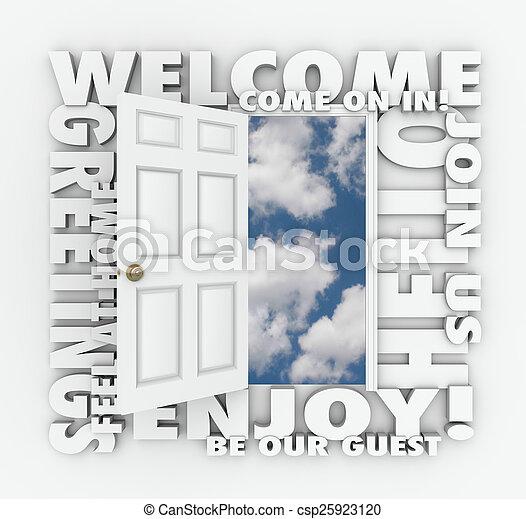 Open Door Welcome Clipart stock photo of open door policy welcome invitation words 3d