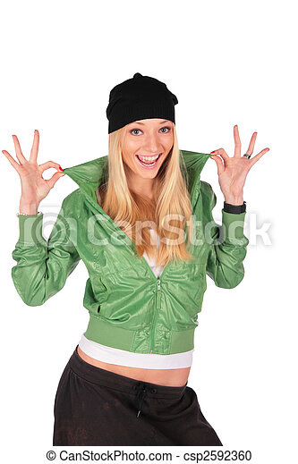 Hip-Hop girl gesture ideal - csp2592360