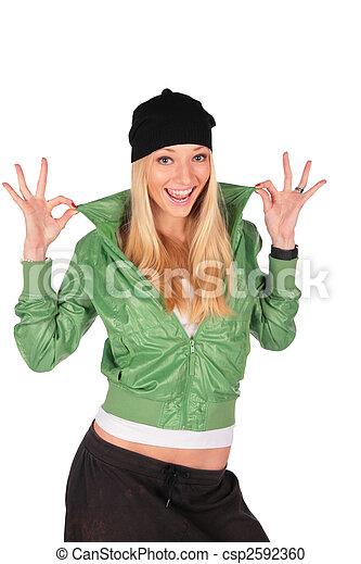 Hip-Hop girl gesture ideal - csp2592360