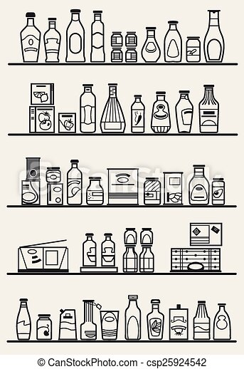 eps vector of store shelves with goods store shelves canned food clipart black and white canned food clip art free