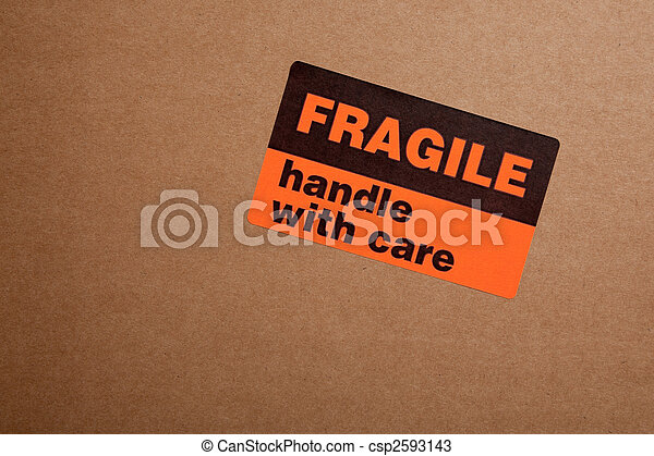 Moving boxes with fragile stickers - csp2593143