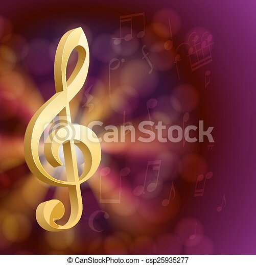 golden musical key with notes - csp25935277