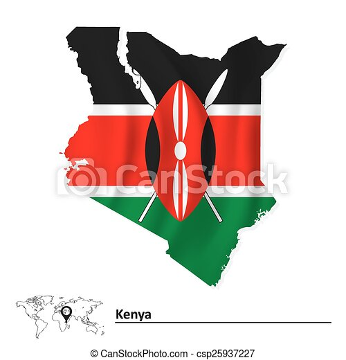 Map of Kenya with flag - csp25937227